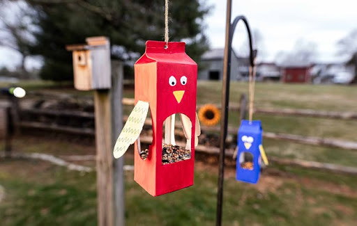 make a upcycled bird feeder for a birthday