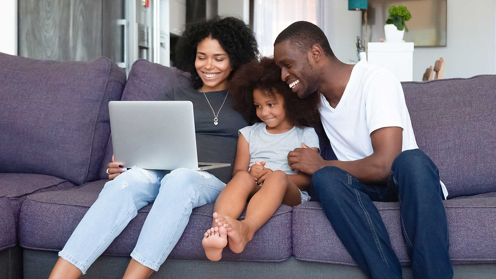 A family watching their vidday together