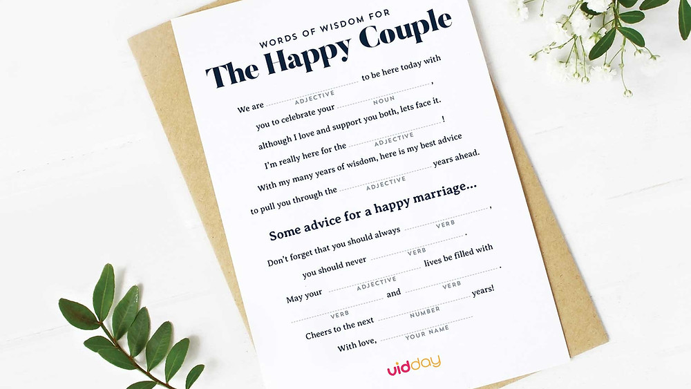 The happy couple words of wisdom game