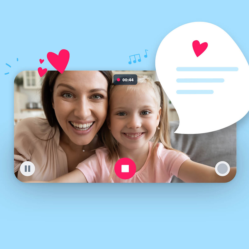 hearts with a little girl taking a selfie