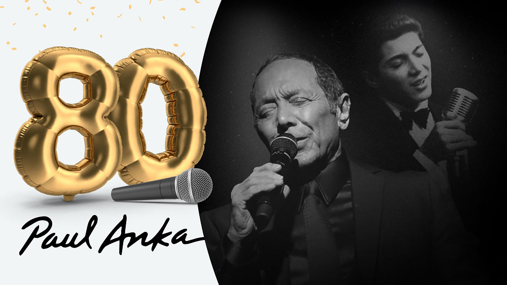 Paul Anka singing in the background with ballons for his 80th birthday