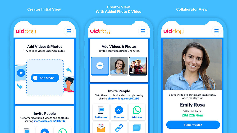 A look inside the VidDay app Event Page