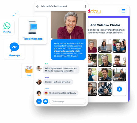 VidDay makes it easy to invite coworkers, friends, and family to submit their own video messages and photos.