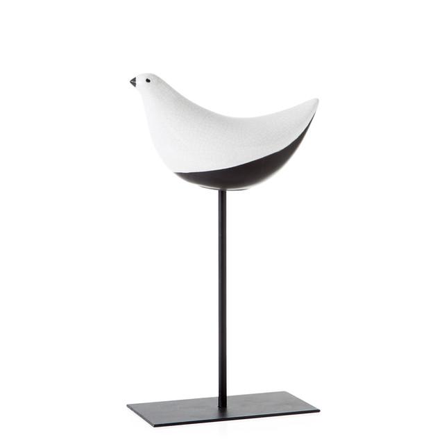 Finch Crackle Glaze Bird on stand - medi