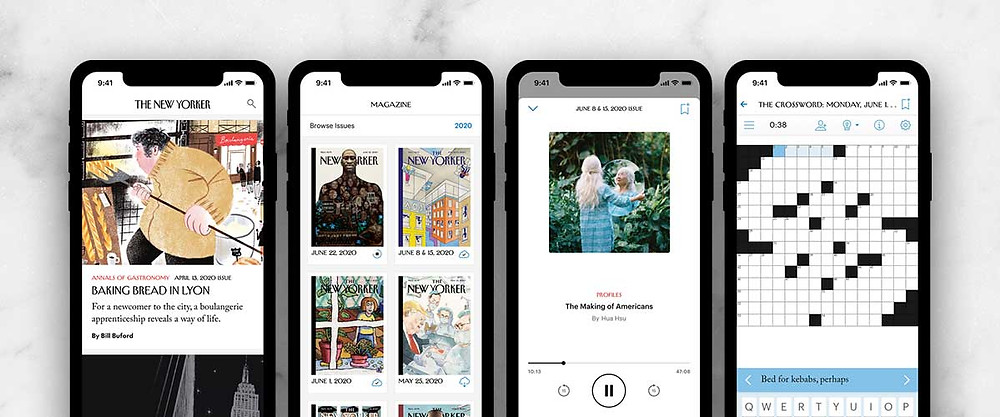 There are four cellphone screens, each one of them has a different screen from the New Yorker. An article, New Yorker Covers, a PodCast, and a Crossword Puzzle. A New Yorker subscription is a great option for a Mother's Day gift.