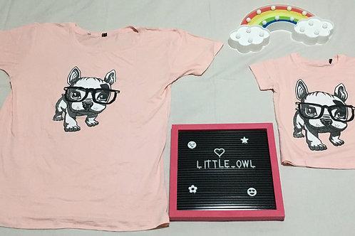 Adulto - Camiseta Rosa Claro (Imagem Cachorro)