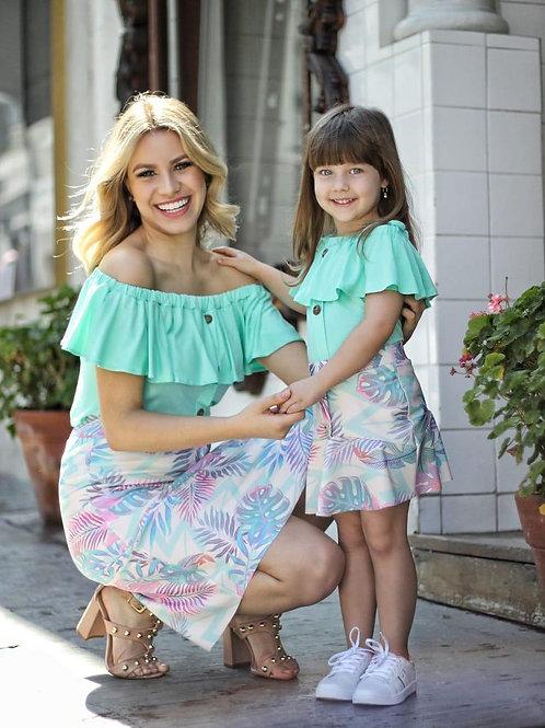 Infantil - Saia Colorida (Folhas)