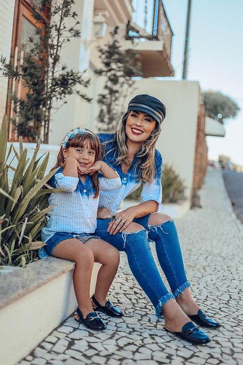 Infantil - Bata manchada (Azul Claro e Escuro)