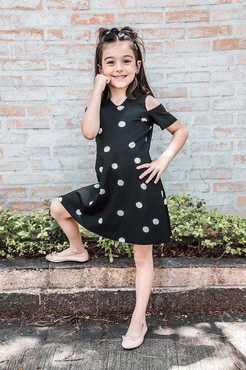Infantil - Vestido Preto Com Bolinhas Branca