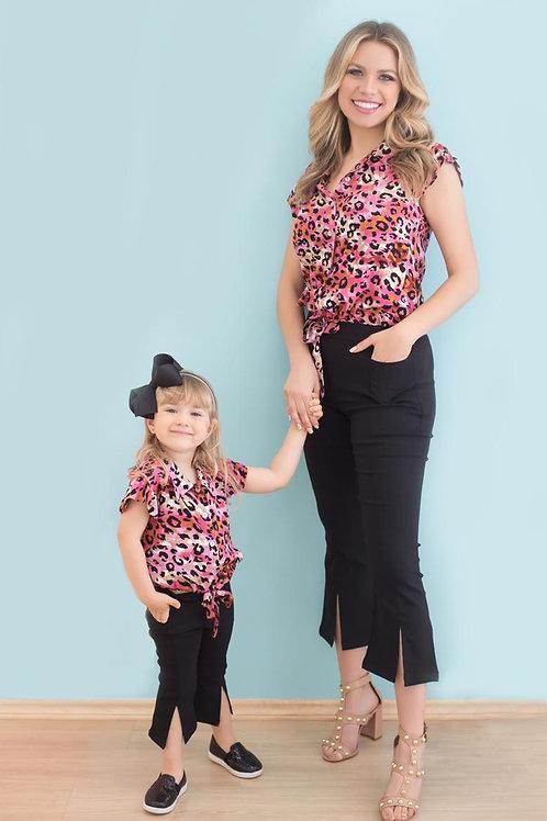Conjunto - Camisa Manga Curta Oncinha (Rosa)
