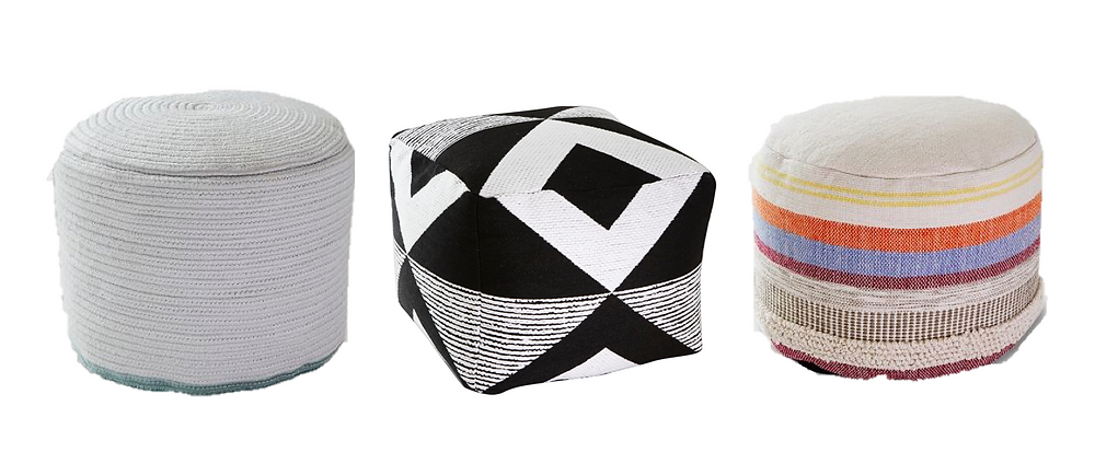 how to decorate a patio on a budget - target poufs