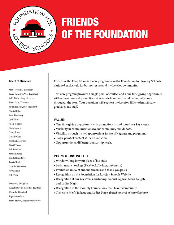 2020-21 Friends of the Foundation Flyer