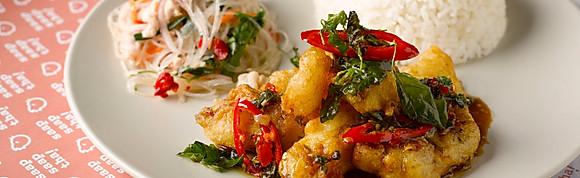 Kra Pao Basil Crispy Fish w Rice