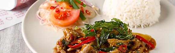 """Kra-Pao"" Basil Beef Slice w Rice"