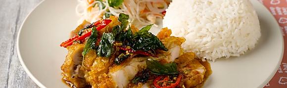 """Kra-Pao"" Basil Crispy Chicken w Rice"