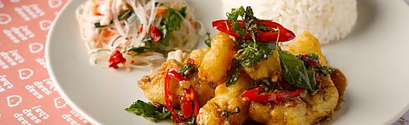 """""""Kra-Pao"""" Basil Fried Fish w Rice"""