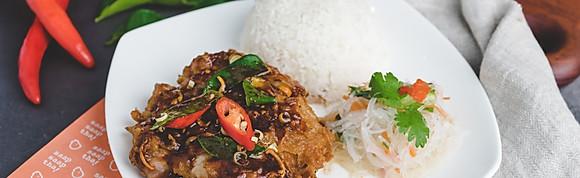 Thai Garlic Black Pepper Crispy Chicken w Rice