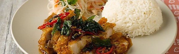Kra-Pao Basil Crispy Chicken with Rice