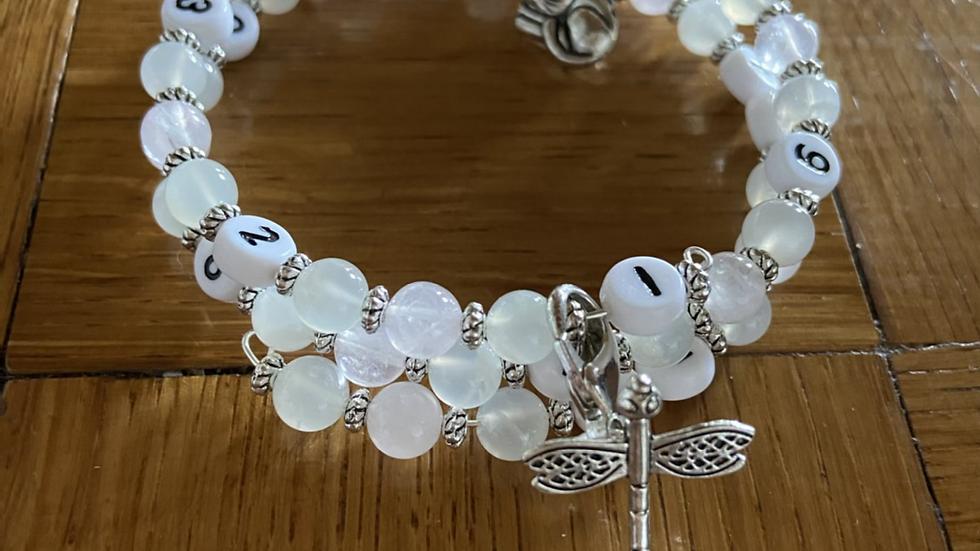 Bracelet allaitement pierre de lune et quartz rose