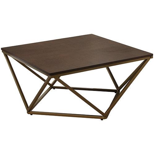 Mesa dorada con cubierta de madera