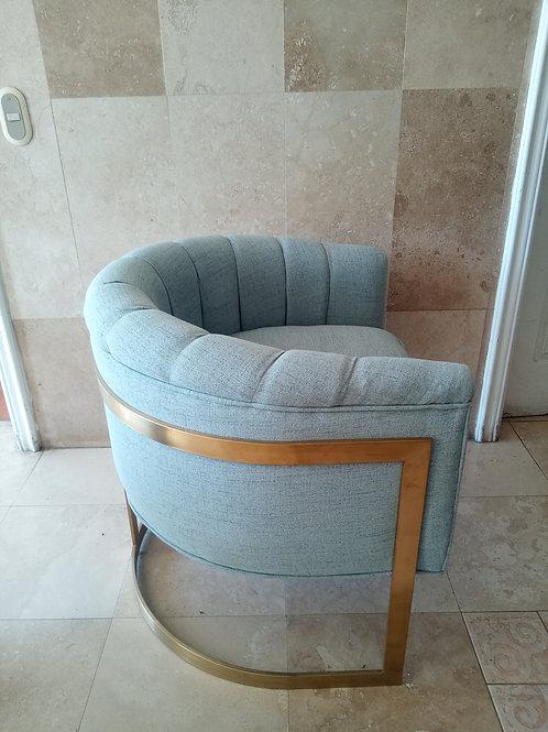 Barrel Chair verde agua con base de acero inoxidable dorado