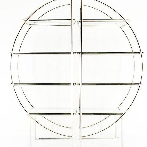 Repisa redonda de acero inoxidable dorado con vidrio templato