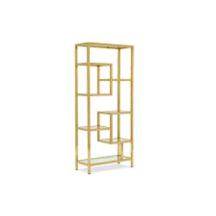 Repisa de acero inoxidable dorado con vidrio templato