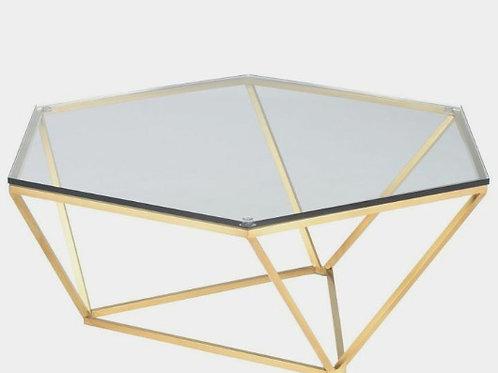 Mesa de centro dorado con vidrio