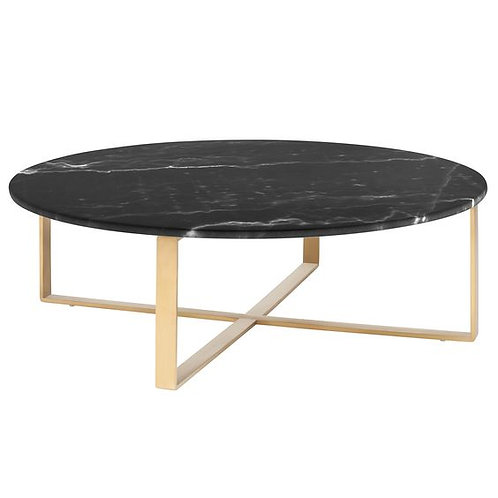 Mesa de centro marmol negro con base de acero inoxidable dorado