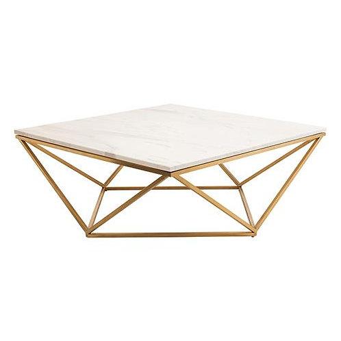 Mesa de marmol blanco con base de acero inoxidable dorado