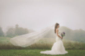 bride, wedding photos, wedding photographer, veil, boquet, wedding gown, fog