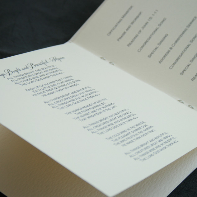 Handmade Co-ordinating Order of Service