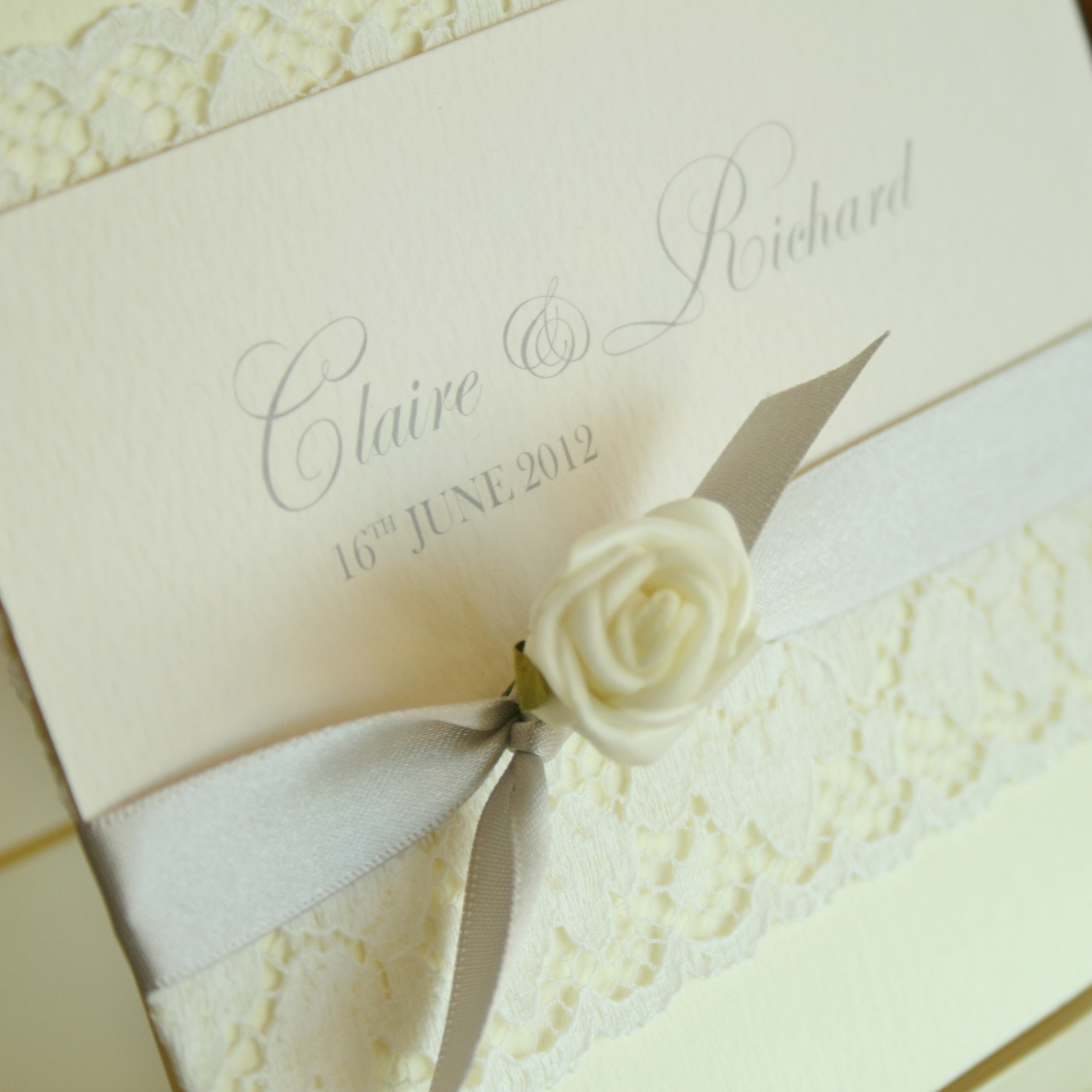 Rose Invitations mounted on a gorgeo