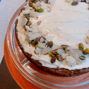 Gluten-Free Carrot Cake with Cream Cheese, Pistachio and Almonds