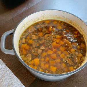 Butternut Squash Soup with Beef and Mushrooms