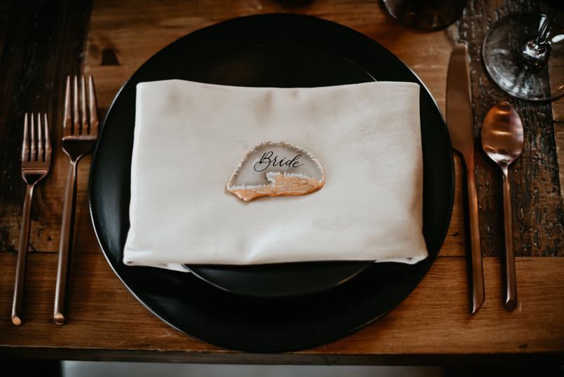 Agate Place Card Calligraphy
