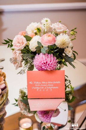 Guest Address Coral Envelope Calligraphy