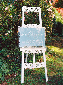 Painted acrylic blue welcome sign
