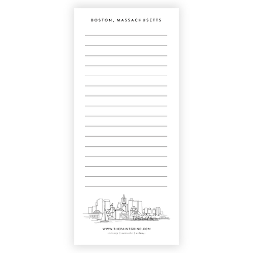 Boston, MA Skyline Notepad