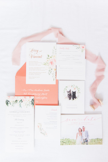 Coral California Wedding featuring cats!
