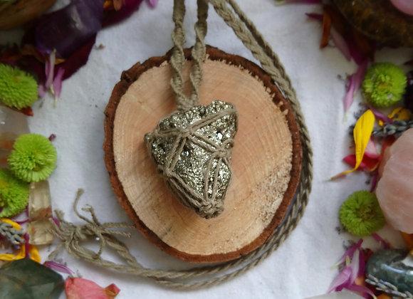 Pyrite Macrame Necklace