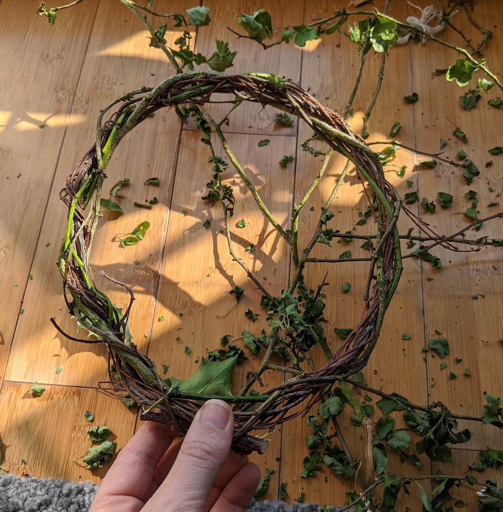 Some of the nine Beltane woods woven together to create a wreath