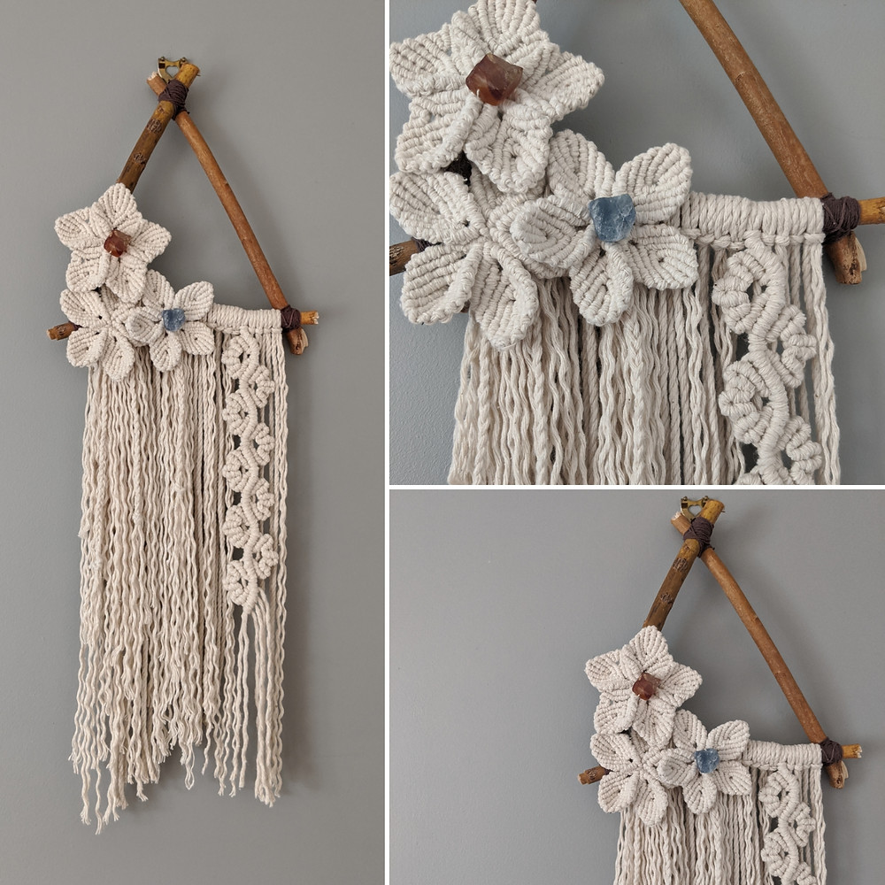 Floral Macrame wall hanging on a willow triangle