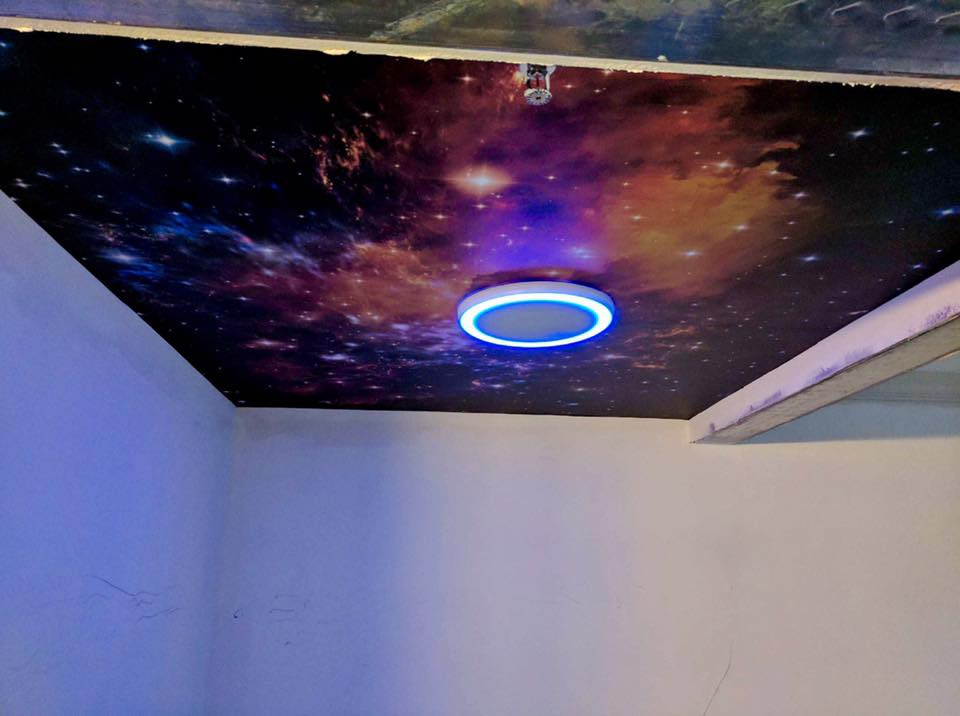 After - Galaxy ceiling over the hot tub!