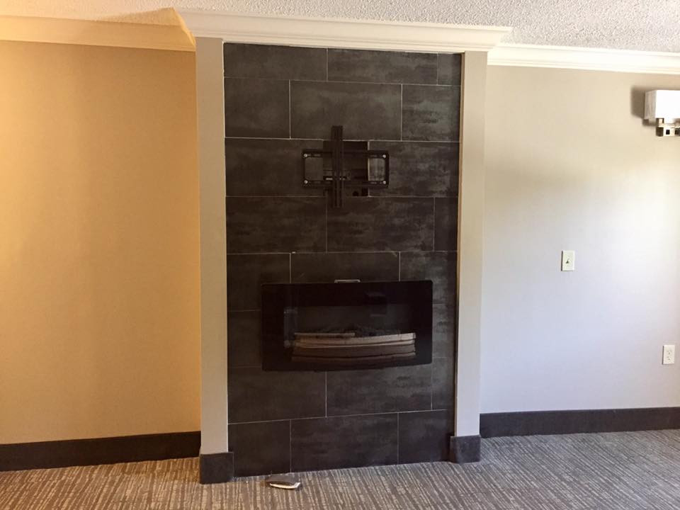 New electric fireplaces with tile surround