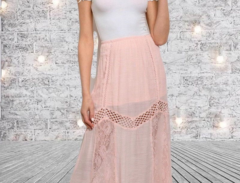 Lace & Lattice Maxi Skirt
