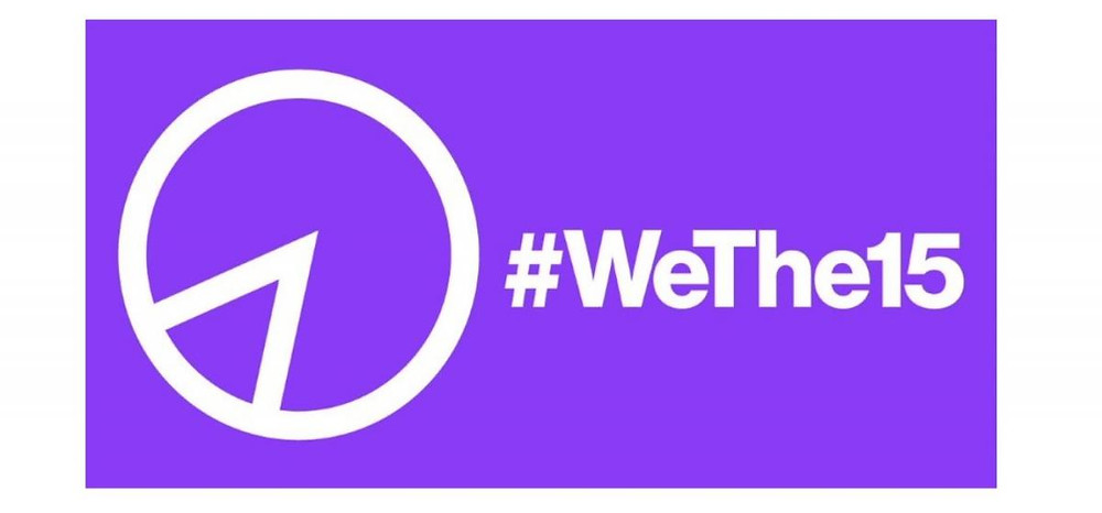 The text #WeThe15 is written in large white font on a purple background. On the left of the image is a circle that resembles a pie chart showing 15%