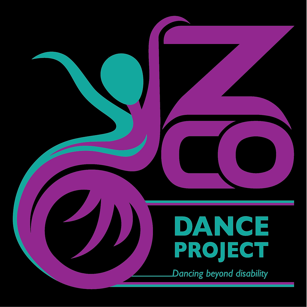 A black background, an form in purple and green resembling a dancer in a wheelchair is on the left hand side. The writing ZCO is on the right in purple and the words Dance Project - Dancing Beyond Ability are written below in green font.