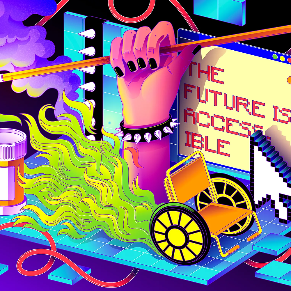 In the background is a blue digital screen with the text 'The future is accessible' in red writing on a yellow screen. A large pixelated mouse arrow hovers over it. In front a large forearm in pink wearing a studded bracelet holds a cane. It arises our of green flames. A wheelchair is in the foreground and is causing the green flames with its wheels illustrating speed. A pill bottle sits to the left of the screen and purple smoke billows from the flames.