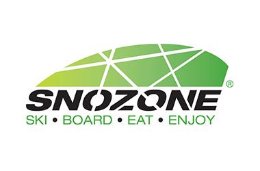 The Snozone Logo is a green dome over black text reading Snozone Ski, Board, Eat, Enjoy